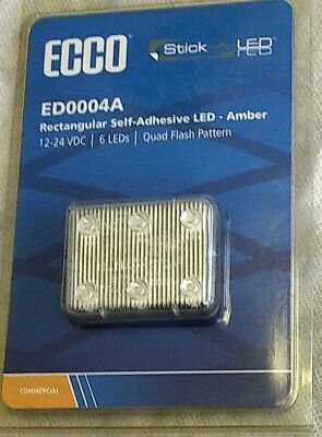 New Ecco Ed0004A Rectangular Self-Adhesive Led Amber 12-24 Vdc 6 Led Quad Flash