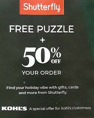 Shutterfly 50% Off Order & Complimentary Puzzle Coupon Code Expires 12/31/19