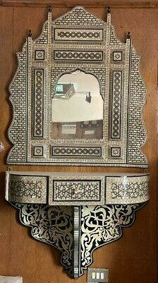 Antique Egyptian Wall Shelf Carved Wood  with Mirror,  Wall Console