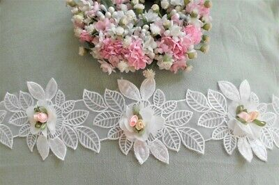 Traumhafte Spitze Weiss Rosenapplikation Vintage Shabby Chic 8,5 Cm