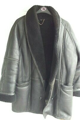 """Mens Black Leather Lined Lambswool Coat Jacket Chest 52"""" Large Xxxl"""