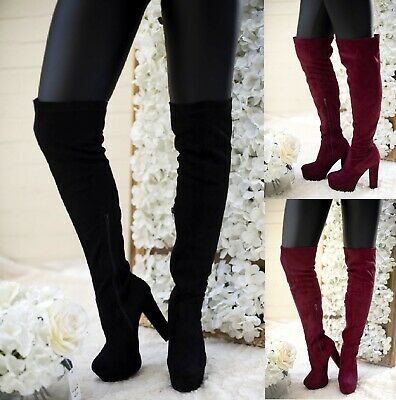 Ladies Womens Over The Knee Chuunky Block High Heel Thigh High Boots Size 3-7 Uk