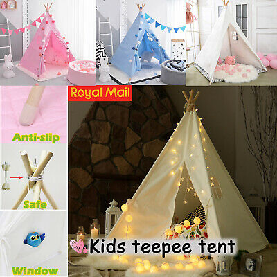 UK Large Canvas Kids Teepee Tent Childrens Wigwam Indoor Outdoor Play House Gift