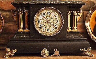 Antique Seth Thomas 4 column Adamantine Mantle Clock Pat 1880