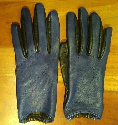 Gap Blue and Black Leather Gloves M/L
