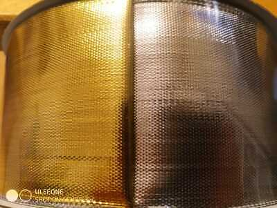 """Wired 63Mm Wide (2.5"""") Satin Effect Gold And Silver Double Sided Ribbon"""