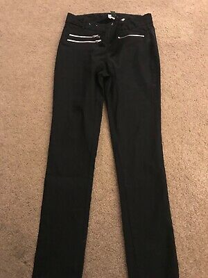 GIRLS (NEW LOOK) BLACK SLIM LEG SCHOOL TROUSERS. AGE 12 YEARS. Excellent condit