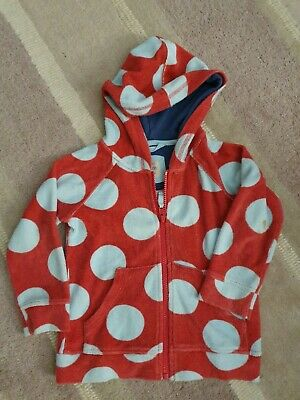 Mini Boden Girls Towelling Zip Up Hoodie. 2-3 Yrs Red And Blue Spots.