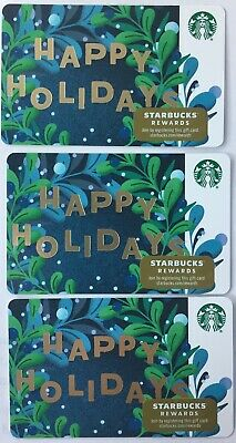 "Lot 3 Starbucks ""HAPPY HOLIDAYS"" Christmas 2019 Recycled Paper Gift Card set"