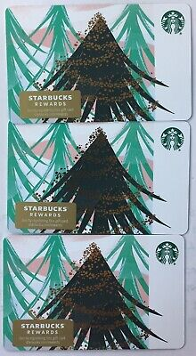 """Lot 3 Starbucks """"SNOW FLAKE TREE"""" Christmas 2019 Recycled Paper Gift Card set"""