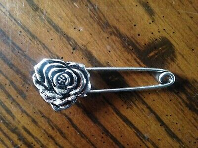Silver Rose Stock Tie Horse Show Ratcatcher Fox Hunting Eventing Dressage Pin
