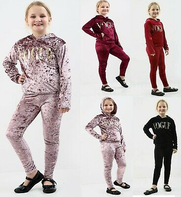New Girls Kids Velvet Hooded Vogue Tracksuit Top & Bottom Lounge Wear