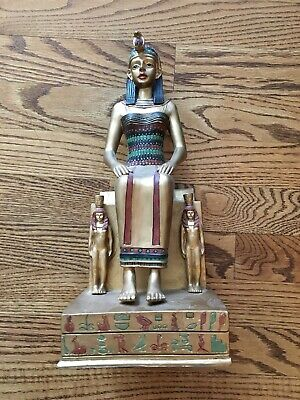 "Vintage 13"" Seated Isis Egyptian Goddess statue figurine - Painted resin"