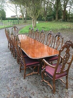 Superb Quality Burr Walnut Dining Table And  14 Chairs