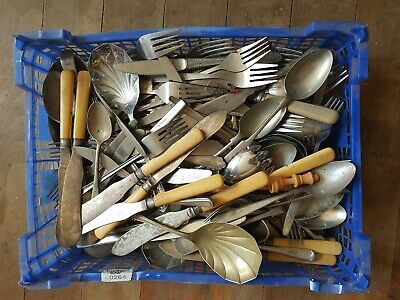 Joblot mixed Vintage Cutlery spoons forks etc. Silver Plate