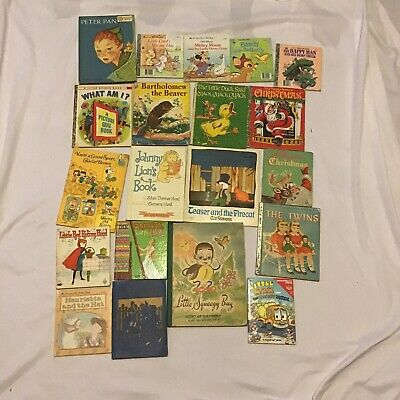 Lot of 20 Vintage 1940s -1980s Little Golden Books Christmas Snoopy Mickey Bug
