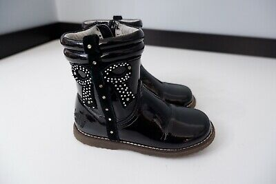 lelli kelly Black Boots Patent Leather Ankle Size 26 Uk 8 Infant VGC Girls