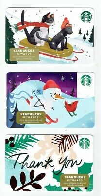 STARBUCKS Gift Card 2019 Christmas / Holiday - LOT of 3 Cards - Collectible