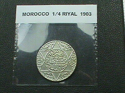 MOROCCO 1/4 Riyal 1903 ( 1320 ) UNC LONDON  COMBINED SHIP .10 Cents USA  .29 INT