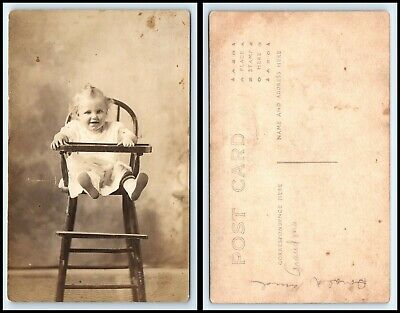 RPPC PHOTO Postcard - Cute Baby Sitting In Old Wooden High Chair B3