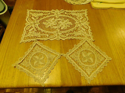 Vintage point lace table runner tray cover centrepiece + 2 smaller