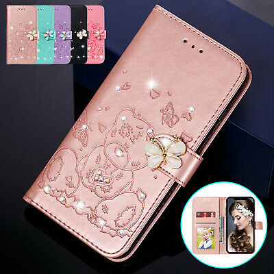 For iPhone 11 Pro Max XS XR 8 7 6s Plus Case Bling Diamond Leather Wallet Cover