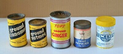 Lot Of 5 Old Grocery Containers Spice Pepper Vincents Etc