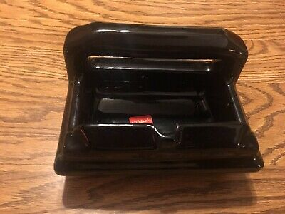 Vintage 1950's Gloss Black Wall Mount Soap Dish With Grab Bar JH Balmer USA