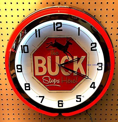 """18"""" The BUCK Stops Here Hunting Sign Double Neon Clock"""