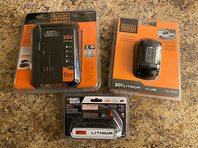 LOT BLACK DECKER BDUSB20B USB Power Adapter + Fast Charger + 20V Lithium Battery