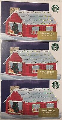 "Lot 3 Starbucks ""SNOWY BRICK HOUSE"" Christmas 2019 Recycled Paper Gift Card set"