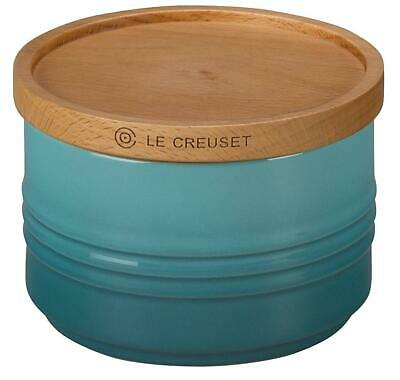 "Le Creuset of America 4"" Canister with Wood Lid, 12 oz, Caribbean"