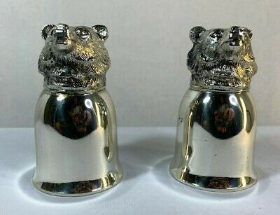 Silver Plate Pair Bear Head Vintage Stirrup Cups