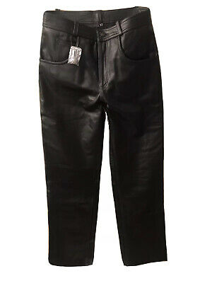 Xelement B7400 Men's 32 Classic Fitted Leather Motorcycle Jeans Pants