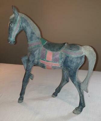 Antique Ornamental Indian Carved Grey Wooden Horse in good condition