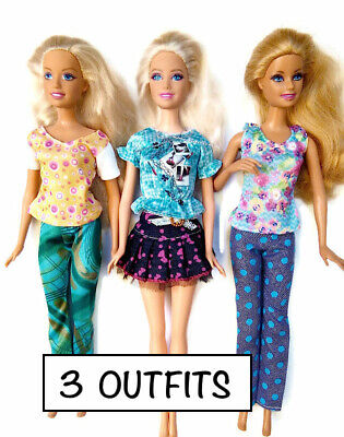 New barbie doll clothes clothing sets set of 3 outfits pants tops skirt casual