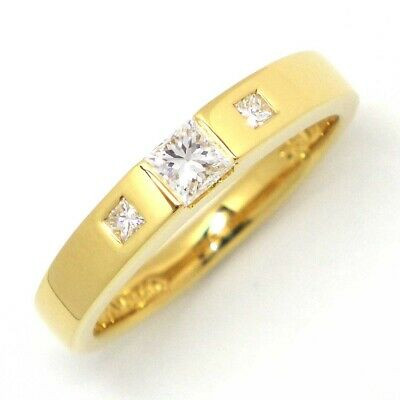 Auth Tiffany & Co. 3 Point Square Cut Diamond Ring 750(18K) Yellow Gold US5