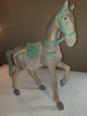 Antique Ornamental Indian Carved  Beige Wooden Horse in good condition