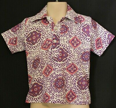 VINTAGE 70's ~ Kids White Pink Purple Groovy Geometric Short Sleeve Body Shirt 2