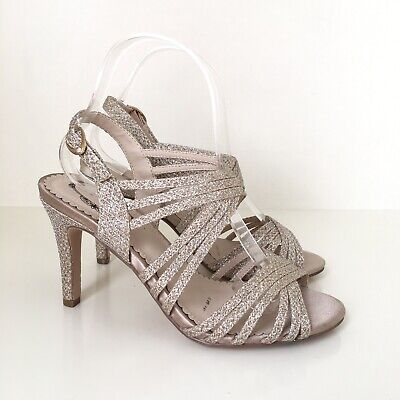 BNWT Debut Pale Gold Glitter Strappy Stiletto Ballroom Dance Shoes Sandals 4 37