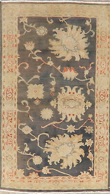 Antique Look Oushak Vegetable Dye Area Rug Charcoal Wool Hand-Knotted 4x6 Carpet