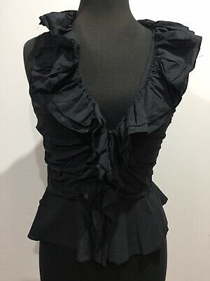 Cast New Creation W Designer Vintage Gothic Ruffles Style Black Shirt Top Small