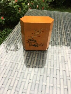Oriental  Small Caddy ,wooden With Hand Painted Heron Design