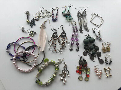 Lot Costume Jewellery Earrings Various Pairs And Some Odds And Bracelets