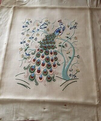 1930 hand Embroidered Peacock.  Beautiful Condition Came From An Old Fire Screen