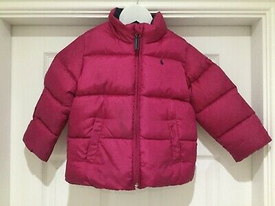Ralph Lauren girls dark pink quilted down winter jacket age 4/4T years