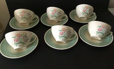 "Art Deco Susie Cooper ""Dresden Spray"" 6 Cups 6 Saucers Green 1930s !"