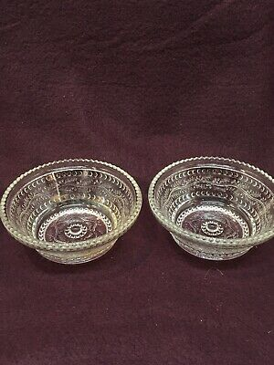 """Vintage Antique Pressed Glass 4"""" Dessert Plates Set Of 2 Berry Bowl Clear Dishes"""