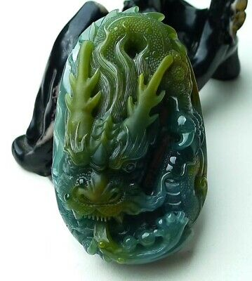 Blue Green Jadeite Jade Handcarved Dragon Pendant Grade A 81mm