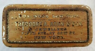 VINTAGE ANTIQUE RARE Theodore A. Kohn & Son Jewllers Box wood Saw Dust Tin